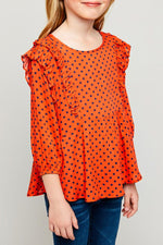 ruffle polka-dot blouse for tween girls tomato round neck