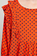 ruffle polka-dot blouse for tween girls tomato ruffle detail