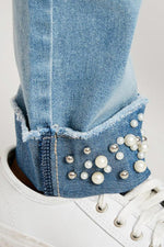 pearl embellished cuffed denim jeans tween girls