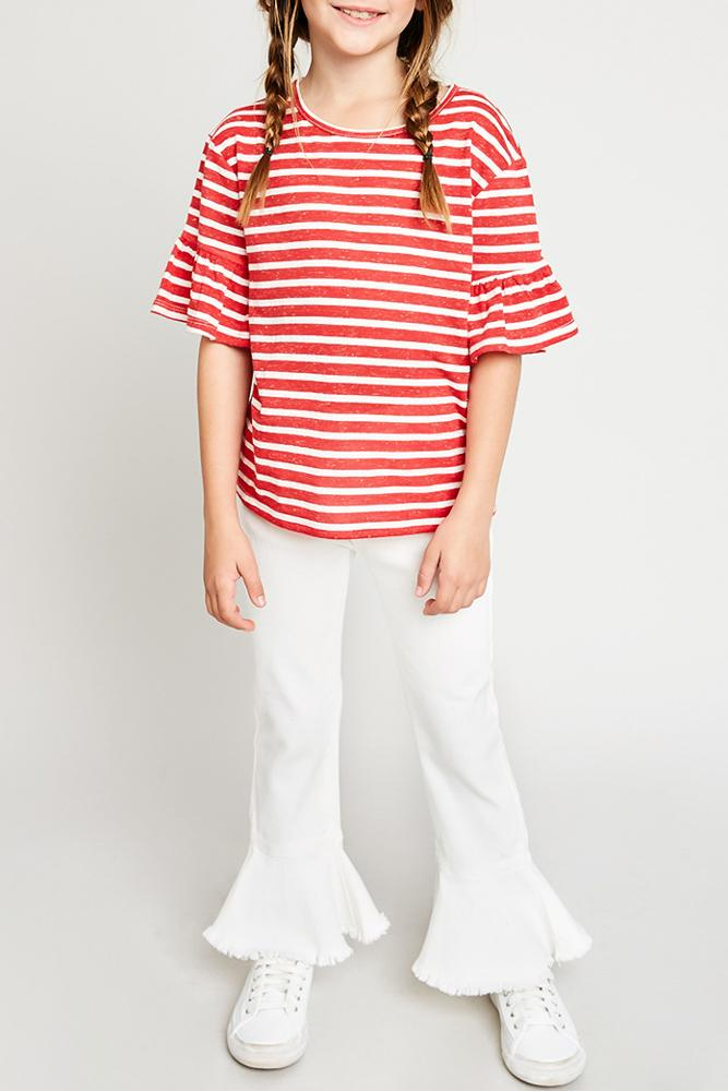 stripe ruffle sleeve tee strawberry