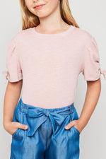 ruched puff-sleeve knit top pink