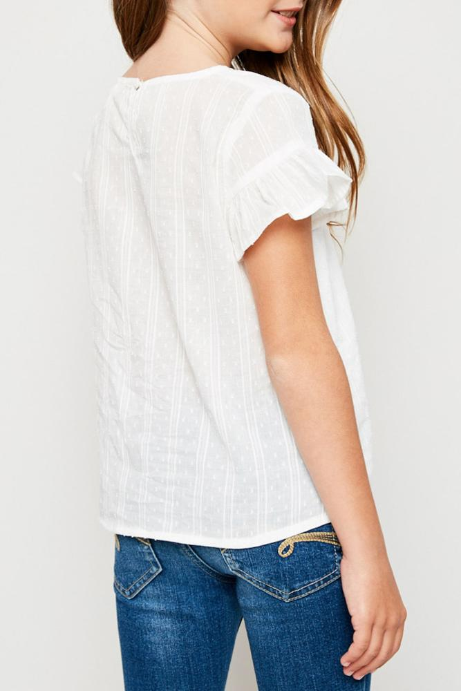 textured flutter sleeve tie-front top for tween girls with back button closure