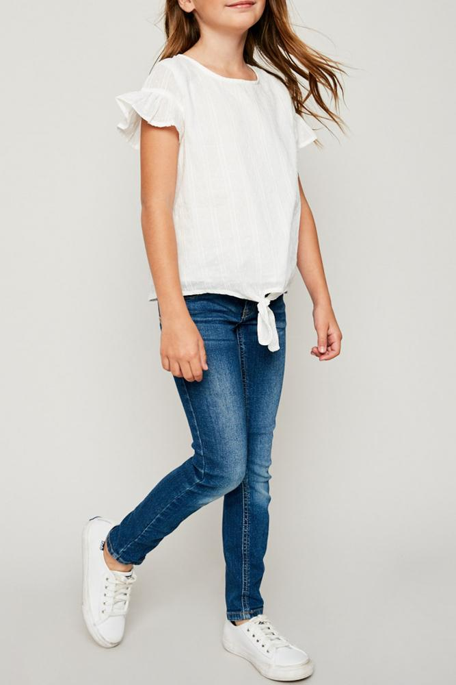 textured flutter sleeve tie-front top for tween girls short sleeve