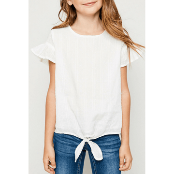 textured flutter sleeve tie-front top for tween girls