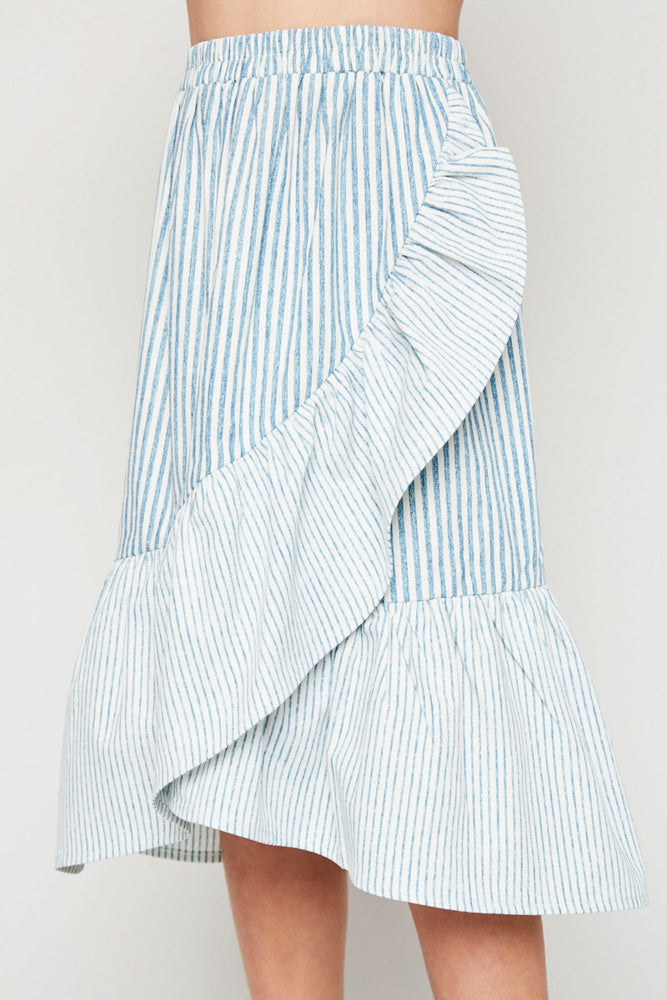 asymmetrical stripe wrap skirt elastic waist