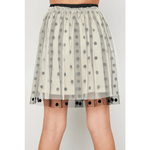 polka-dot tulle mini skirt for tween girls