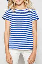stripe cotton-back tee for tween girls blue
