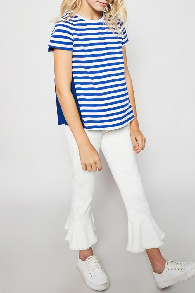 stripe cotton-back tee for tween girls loose fit