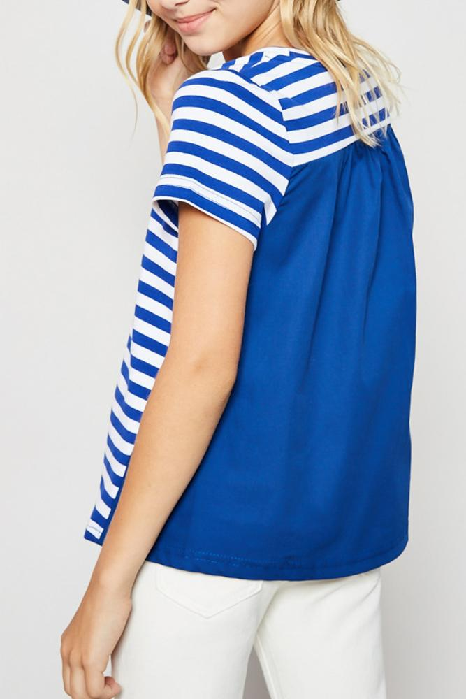 stripe cotton-back tee for tween girls short sleeve