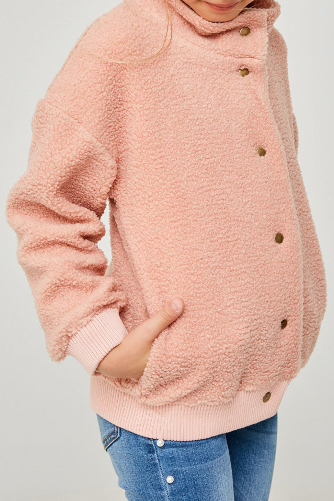 button-down sherpa jacket pink