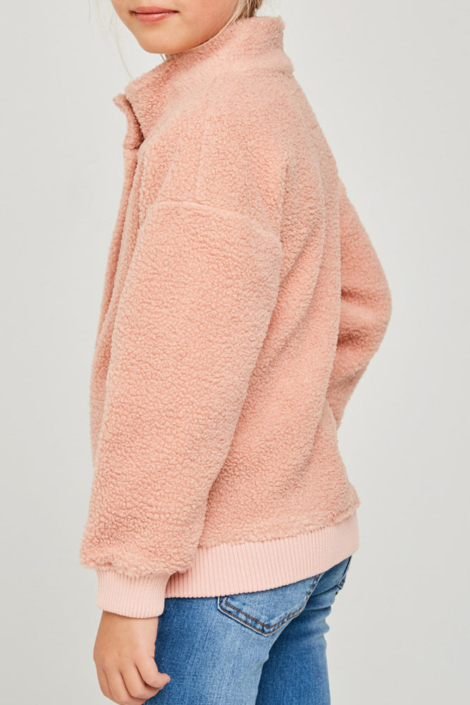 soft button-down sherpa jacket