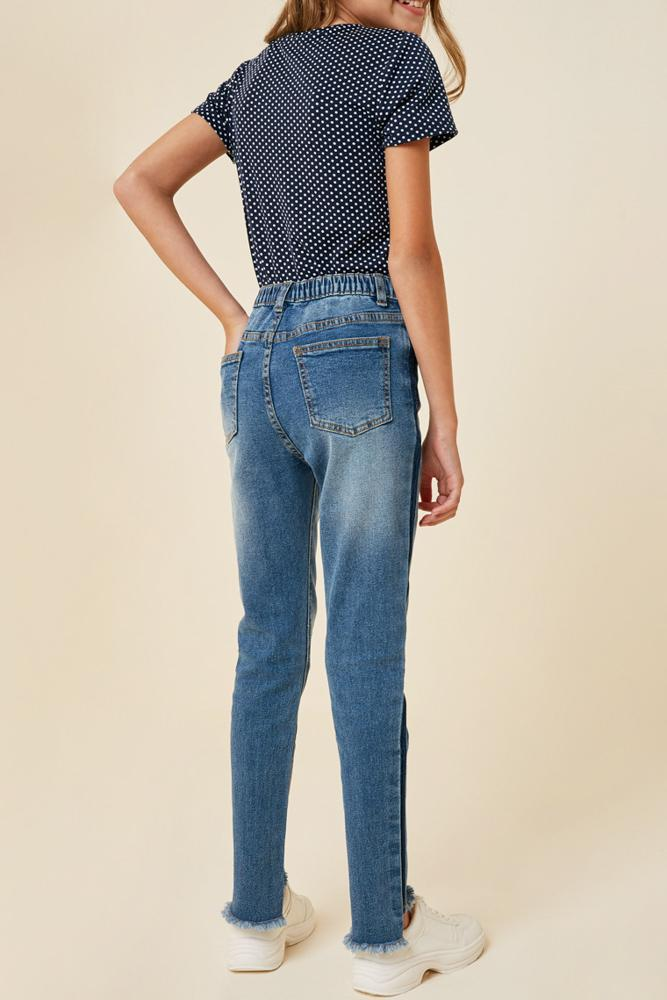 stone wash frayed ankle jean with pockets