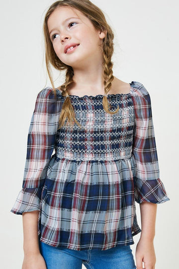 embroidered plaid smock top, navy