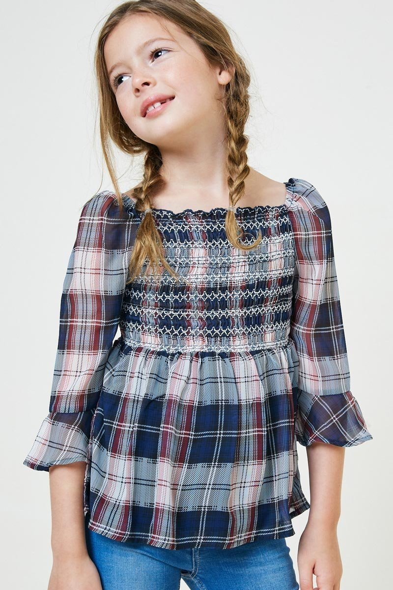 embroidered plaid smock top, navy (7/8, 13/14)