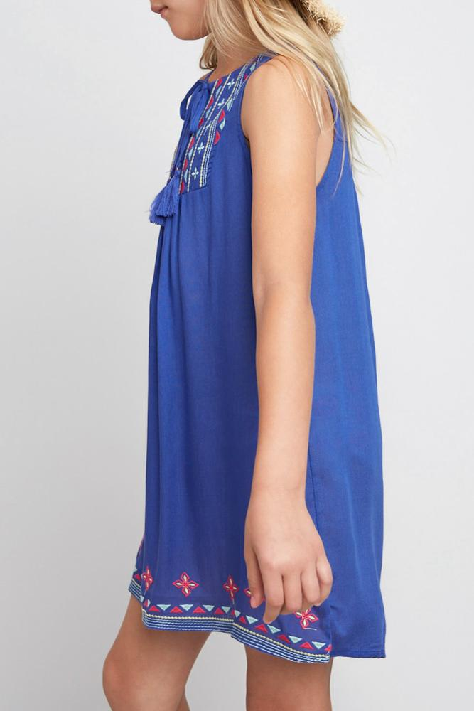 embroidered tassel tie dress tribal print