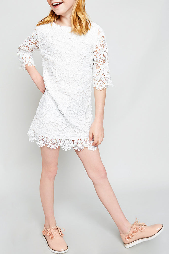 lace shift dress above knee length