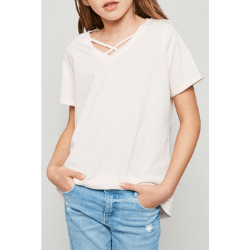v-neck criss-cross tee for tween girls in pale pink