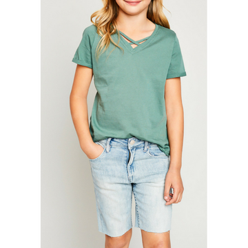v-neck criss-cross tee for tween girls sage