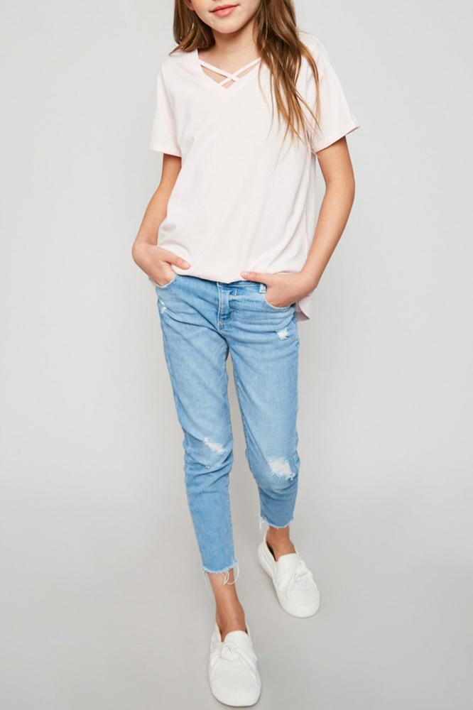 v-neck criss-cross tee for tween girls in pale pink relaxed fit