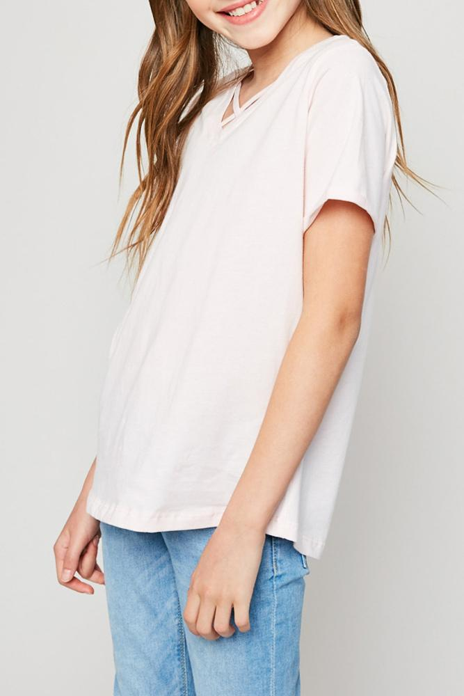 v-neck criss-cross tee for tween girls in pale pink rolled sleeves