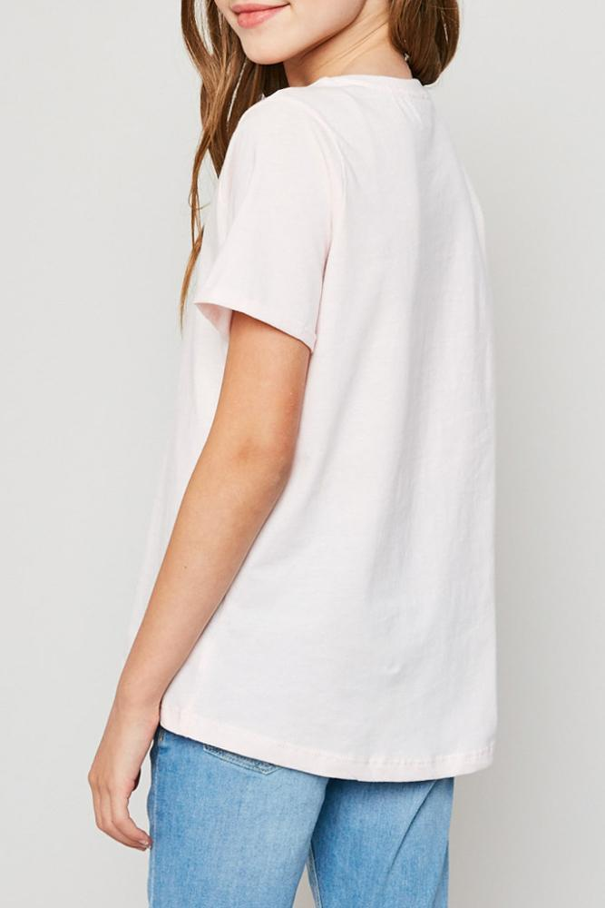 soft cotton v-neck criss-cross tee for tween girls in pale pink