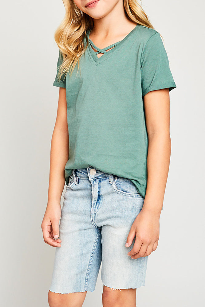 v-neck criss-cross tee for tween girls relaxed fit