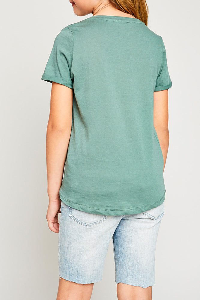 v-neck criss-cross tee for tween girls rolled sleeve