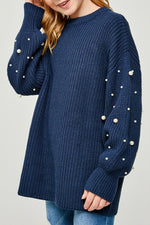 pearl knit sweater for tween girls midnight