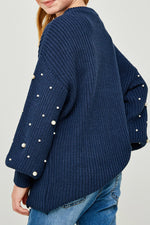 thich, chunky pearl knit sweater for tween girls