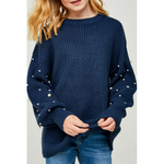 pearl knit sweater for tween girls
