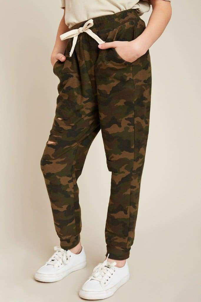 Distressed Camo Terry Joggers