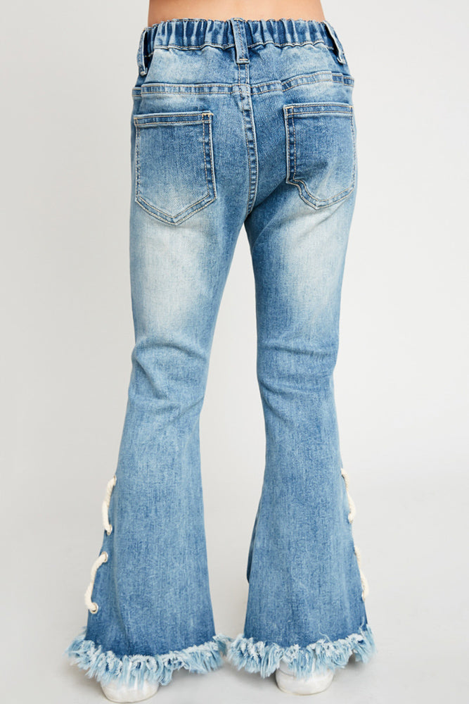 lace-up distressed flare jeans elastic waistband