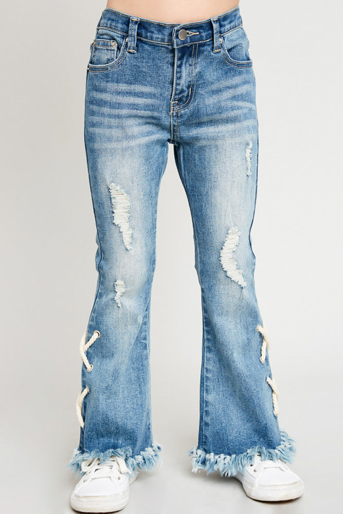 lace-up distressed flare jeans for girls