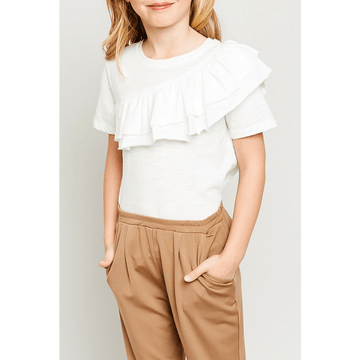 gauze woven asymmetrical ruffle t-shirt for tween girls