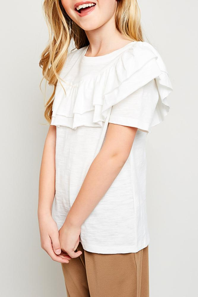 asymmetrical ruffle t-shirt for tween girls
