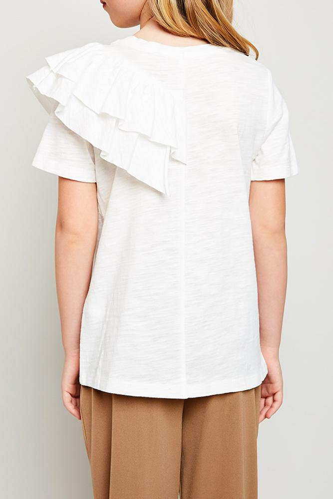 asymmetrical ruffle t-shirt for tween girls white
