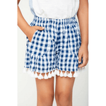tassel trim gingham shorts for tween girls