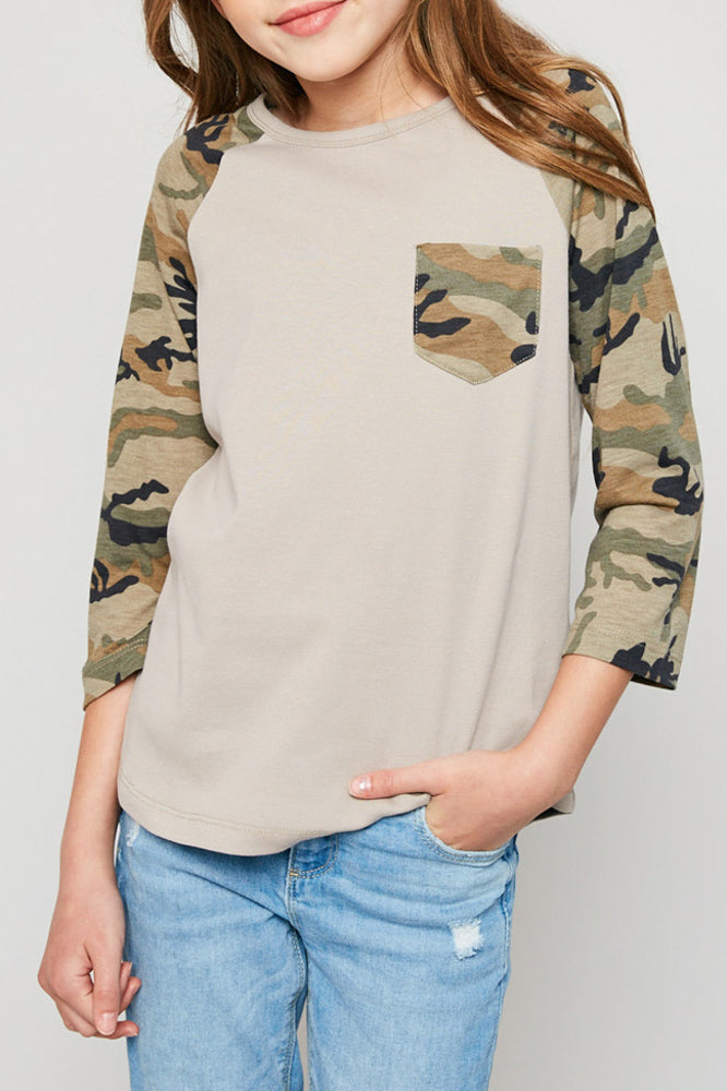long-sleeve camo baseball tee for girls