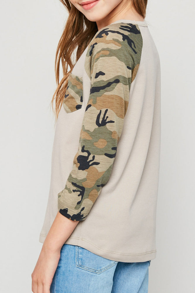 long-sleeve camo baseball tee with pocket