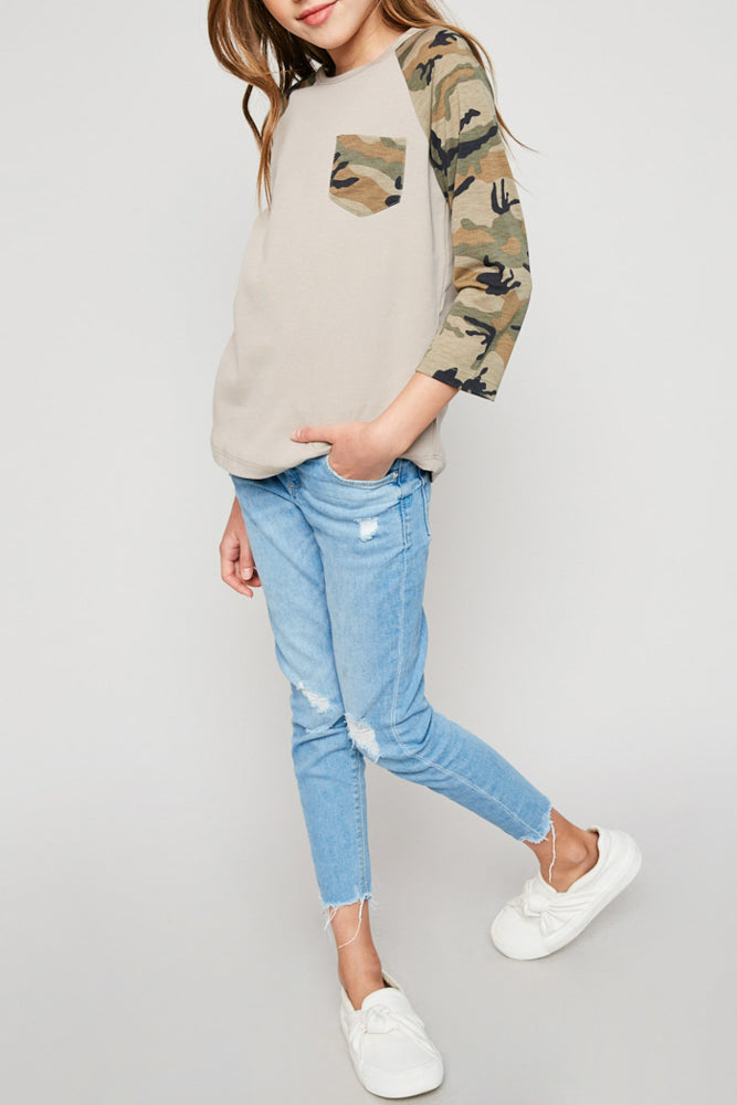 long-sleeve camo baseball tee cotton