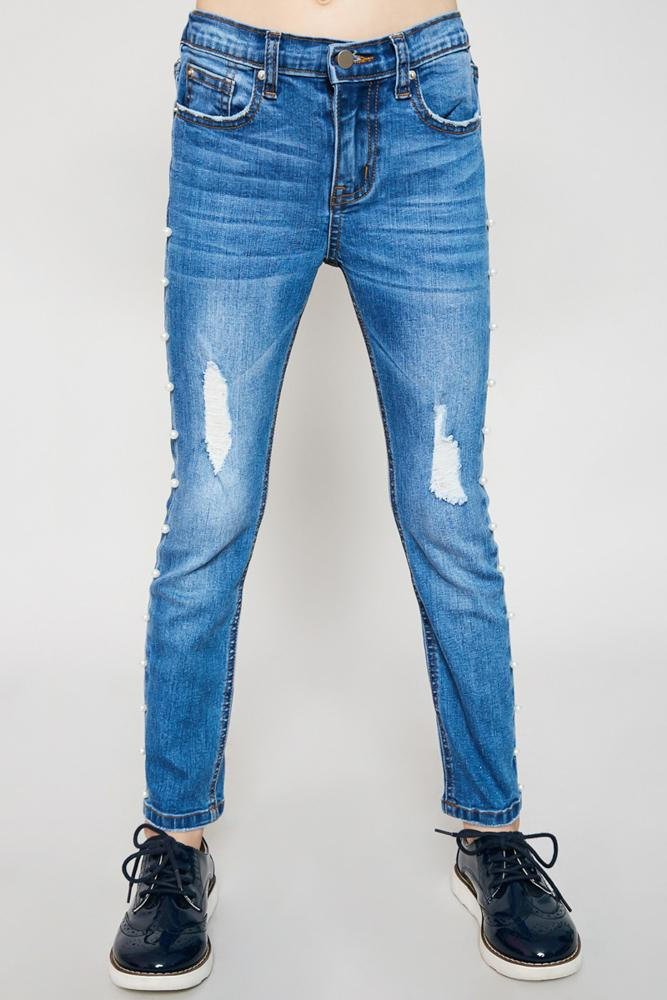 distressed side pearl denim jeans for tween girls straight leg fit