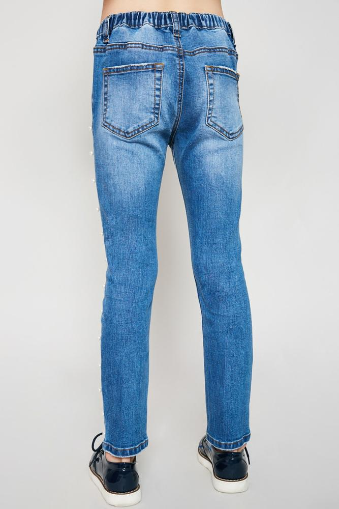 distressed side pearl denim jeans for tween girls stretchy material