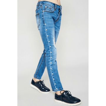 distressed side pearl denim jeans for tween girls