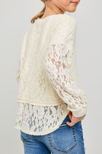 semi sheer lace pullover sweater top