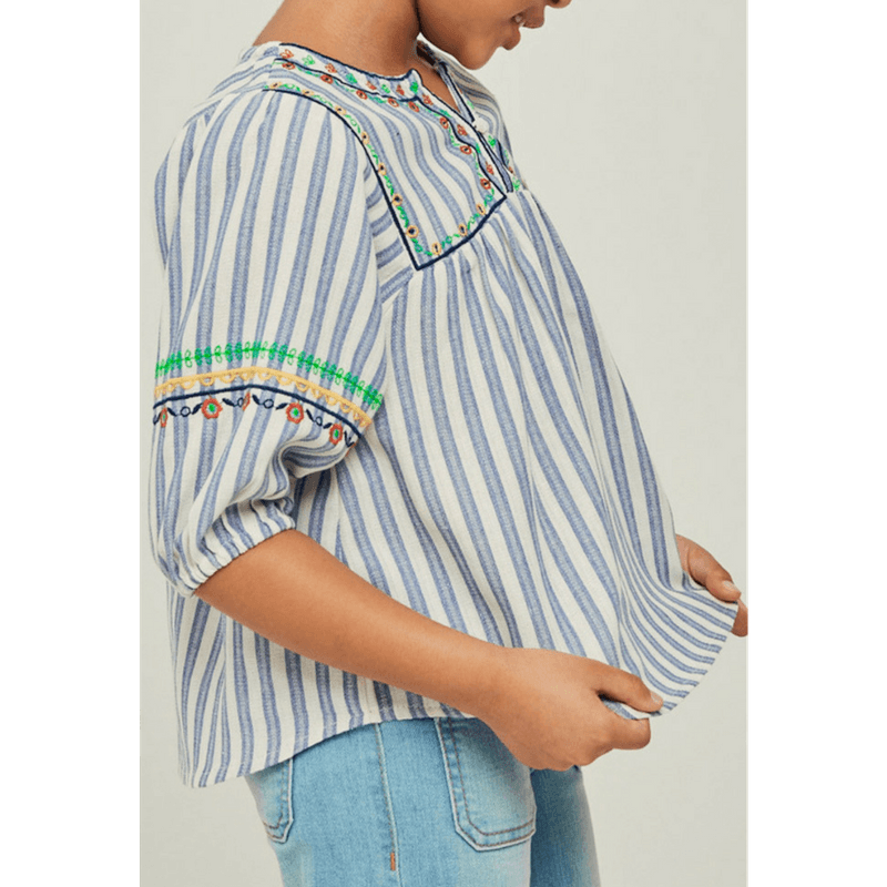 stripe floral embroidered peasant top