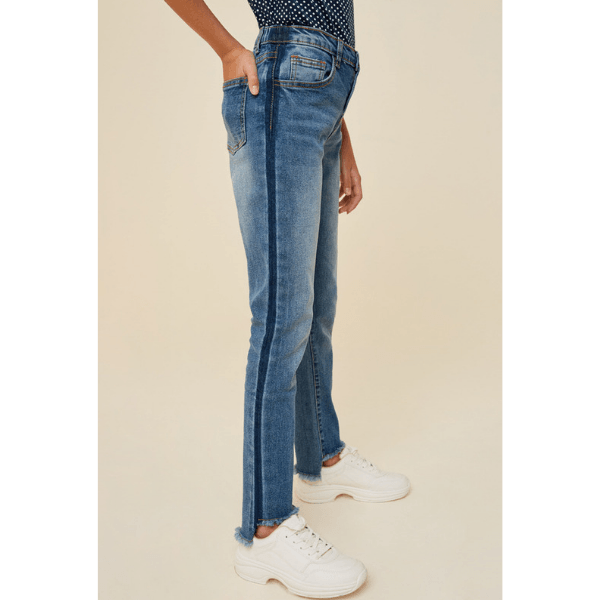 stone wash frayed ankle jean