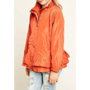 button-up ruffled windbreaker