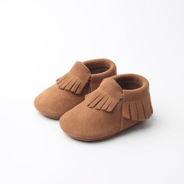 leather baby moccasins, brown