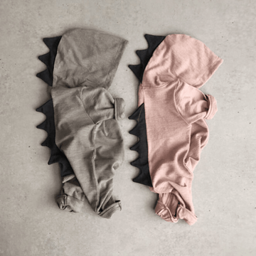 lala dino baby romper pink and grey