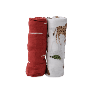 Deluxe Cotton Muslin Swaddle Blanket Set of Two, Safari Social